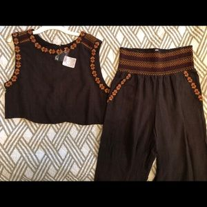 Free People crop top/pants matching set